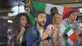 rugby : Sport fans with Italian flag enjoying tournament, celebrating winning game Stock Footage