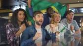 beisebol : Sport fans with Brazil flag supporting national team, happy about victory
