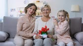 parabéns : Mother and daughter hugging grandmother with tulips and present in hand, holiday Vídeos