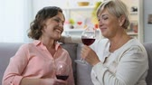 fofoca : Two women drinking wine, having casual conversation, sharing positive news