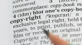 gramática : Copyright, definition on english vocabulary, legal rights protection, publishing
