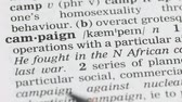 gramática : Campaign, pencil pointing word in vocabulary in english, marketing strategy