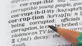 gramática : Corruption word in english vocabulary, lawbreaking activity and bribe taking