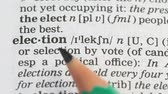 dilbilgisi : Election, pencil pointing word on vocabulary in english, free democratic voting Stok Video