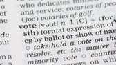 gramática : Vote, word definition on english vocabulary page, presidential election, freedom Stock Footage