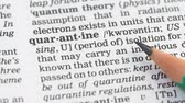 gramática : Quarantine meaning in dictionary, isolation of sick beings, epidemics prevention Stock Footage