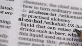 gramática : Alcohol word pointed in english dictionary harmful addiction to spirit beverages