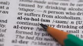 gramática : Alcoholism meaning in vocabulary, harmful continual drinking of spirits, abuse Stock Footage