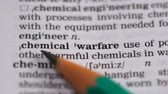 gramática : Chemical warfare phrase definition in vocabulary, usage of lethal substances