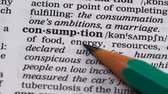 文法 : Consumption, pencil pointing word in dictionary, goods or energy usage, power