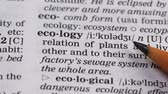 文法 : Ecology word pointed in vocabulary earth environment protection and preservation 動画素材