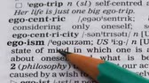 gramatika : Egoism word in english dictionary, person qualities, self-confidence, narcissism