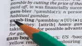 gramática : Gambling, word meaning in vocabulary, illegal business, playing in casino, risk