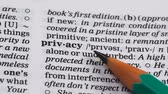 gramatika : Privacy definition pointed in dictionary, right to stay alone or undisturbed