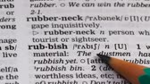 gramática : Rubbish word definition in dictionary, reducing environmental pollution, recycle Stock Footage