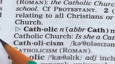 dilbilgisi : Catholic word in english vocabulary, part of christian church, worship in god