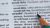 gramática : Credit word meaning in english dictionary, loan for business, promise to pay