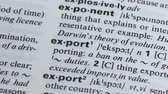 dilbilgisi : Export definition written in dictionary, process of international trade, economy Stok Video