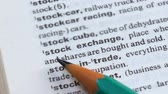 gramática : Stock exchange phrase in english dictionary, bonds selling and purchasing, trade