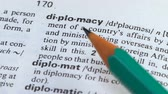 文法 : Diplomacy, pencil pointing word in vocabulary, international relations, business 動画素材