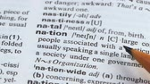 文法 : Nation, pencil pointing word meaning, group of people living together, society 動画素材