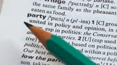 gramática : Party word definition on vocabulary page, political group united in opinion