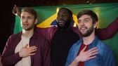 Результаты : Brazilian multiracial football fans singing national anthem, waving flag in pub