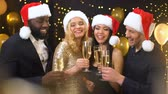 clinking : Smiling colleagues in santa hats clinking champagne glasses, corporate event Stock Footage