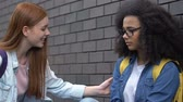 linha de apoio : Kind female student giving helping hand to bullied biracial girl, stop racism