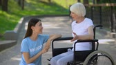 carità : Disabled senior lady in wheelchair talking to volunteer, conversation support