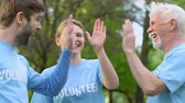 reforestation : Mixed aged eco volunteers giving high five in park, nature conservation project Stock Footage