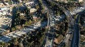 grade : Speed up aerial footage over Los Angeles freeways.