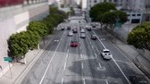 коммутирующих : Time Lapse of Traffic in Downtown Los Angeles Daytime Стоковые видеозаписи