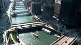 árnyék : Chicago River  Downtown from Above - Time Lapse Stock mozgókép