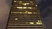 apartamentos : Building at Night Time Lapse - Tilt Shift Stock Footage