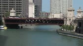 híd : Chicago River Time Lapse Stock mozgókép