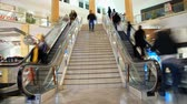 розничная торговля : Escalator   stairs  at the mall - Time Lapse
