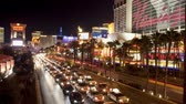 уличный свет : Time Lapse of Las Vegas Strip Casinos at Night Стоковые видеозаписи