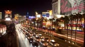 cassino : Panning Time Lapse of Las Vegas Strip Casinos at Night Stock Footage