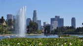 família : Water Fountain in Echo Park with Downtown Los Angeles California in the Background