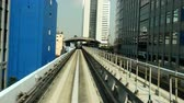 efficient : Time Lapse POV of the Tokyo Monorail System with Skyline -  Tokyo Japan Stock Footage