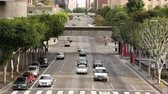 ponte : Zoom Out  Overhead View of Traffic  Pedestrians in Downtown Los Angeles California