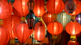 windy : Lighted Chinese Lanterns Swaying in the Wind Stock Footage