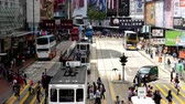 asiáticos : Time Lapse  Zoom Bus  Trolley Pedestrian Traffic in Central Hong Kong