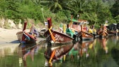file : Zoom Colorful Boats in Small Village in Phuket Thailand