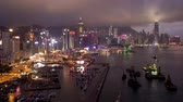 asiáticos : Time Lapse of Day to Night Hong Kong Harbor and Skyline