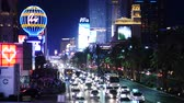 pecado : Zoom Out - Busy Casino Traffic on the Las Vegas Strip - Night