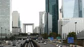 la defense : Rail & Street Traffic at La Defense  - Paris France Stock Footage