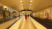 People Exiting Subway Car onto Station Platform-  Stockholm Sweden Stock Footage