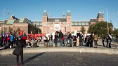 Time Lapse - Amsterdam Sign & People - Rijksmuseum - Amsterdam Netherlands Stock Footage